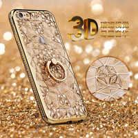 Dla iPhone X Xs Max XR Case luksusowy 3D miękki pierścień Capa dla iPhone 5 5S SE 6 S 7 8 Plus pierścień silikonowy brokat Rhinestone obudowa z podstawką