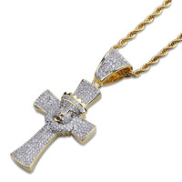 Lucky Sonny Hip Hop Cross Pendant Necklace Lion Head Charm Accessory Gold Silver Tone Color Iced Zircon Out Bijoux Free Shipping