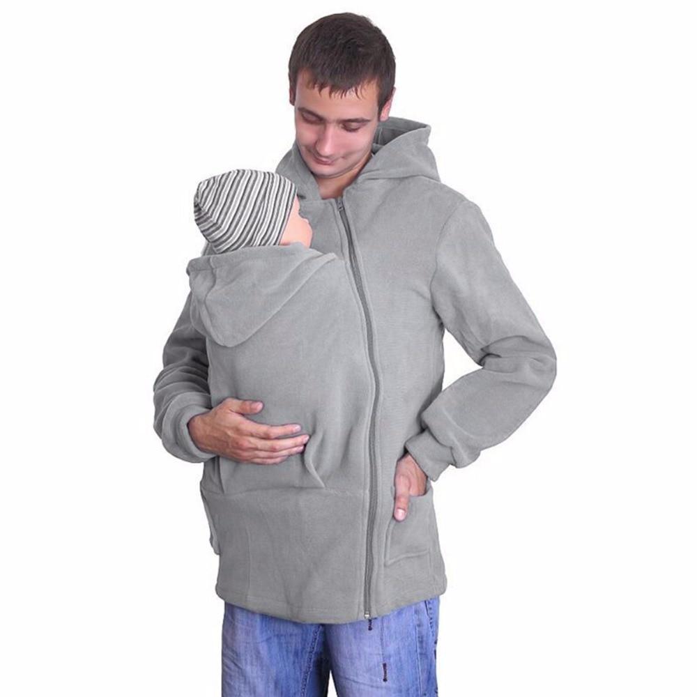 Men's Spring Baby Carrier Father Kangaroo Hoodies Zip Up Dad Coat Hooded Sweatshirt Pullover multifunctional cotton Outerwear