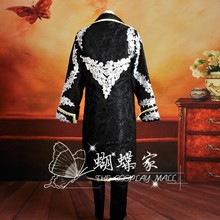 Free ship mens luxury period suit black lace embroidery medieval suit, jacket with pants