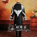 Nave libre del mens de lujo período de encaje negro del juego del bordado traje medieval, chaqueta con pantalones