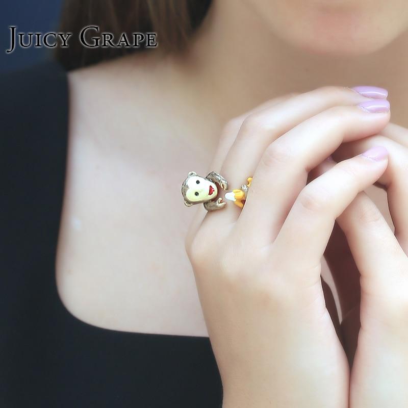 Raisin juteux Coréenne bague émail peint à la main Réglable mignon singe anneaux set Bijoux femmes fille d'anniversaire cadeau vente chaude