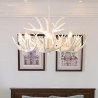 Nordic Retro Antlers Resin Chandelier Ceiling Lamps Lights for Kitchen Home White Antler Lustre Lighting Vintage Light Fixtures|Chandeliers| |  -