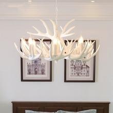 Nordic Retro Antlers Resin Chandelier Ceiling Lamps Lights for Kitchen Home White Antler Lustre Lighting Vintage Light Fixtures
