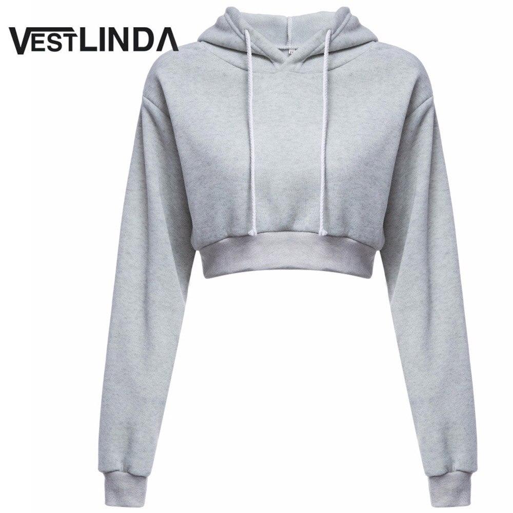 VESTLINDA Hoodies Women Casual Hooded Tops Female Hoodie Feminino Sweatshirts Top Solid Long Sleeve 2017 Autumn Short Hoodies
