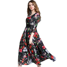 Fashion Floral Boho Dress Women Elegant Three Quarter O-neck Vintege Long Black Evening Party Dresses 2017 Summer Plus Size Robe