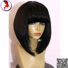 8A Brazilian Full Lace Bangs Wig Short Lace Front Wigs With Baby Hair Human Hair Virgin Hair Wigs Silky Straight For Black Woman