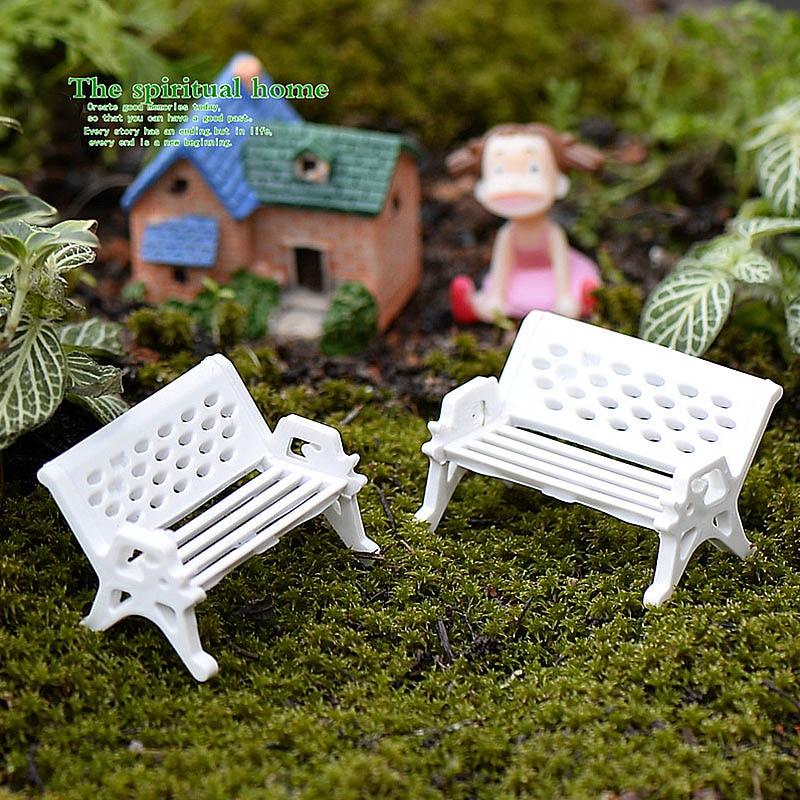 Hot Mini White Bench Fairy Doll Chairs Terrarium Moss Decor Figurines Garden Miniatures Micro Landscape Accessories