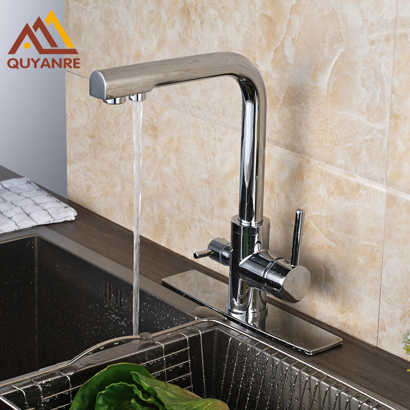 Dual Handle Single Hole Kitchen Drink Water Tap Pure Water Faucet with 10 Inch Plate Chrome