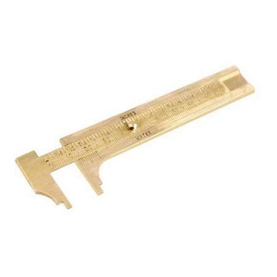 "MINI 100MM//4/"" SOLID BRASS VERNIER GAUGE CALIPERS Pocket Size Measuring Tool UK"