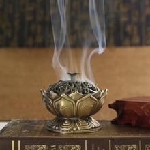 Chinese Buddha Alloy Incense Burner Lotus Flower Incense Holder Handmade Censer for Buddhist Home Office Decoration(China)