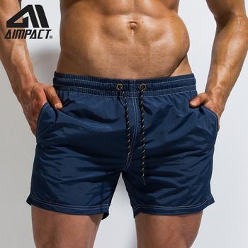Męskie kąpielówki spodenki plażowe kostiumy kąpielowe dla mężczyzn moda kąpielówki sportowe szybkie suche stroje kąpielowe z siatkową podszewką kieszeń AM2174 tanie i dobre opinie Poliester AIMPACT Stałe Pasuje mniejszy niż zwykle proszę sprawdzić ten sklep jest dobór informacji 100 New High Quality