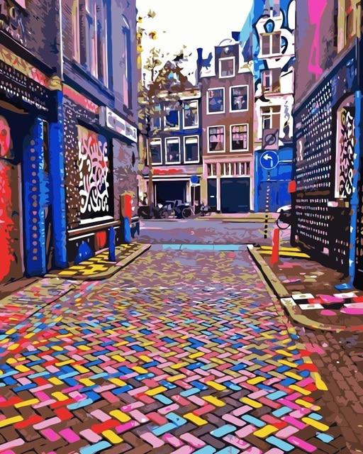 mahuaf i725 amsterdam color rue paysage peinture by des chiffres sur la toile nordique. Black Bedroom Furniture Sets. Home Design Ideas