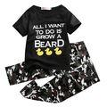 2 pc set!! Moda Bebê Infantil Meninos Roupas Carta de Manga Curta T-shirt O Pescoço Tops + Calças Compridas crianças Roupas de camuflagem