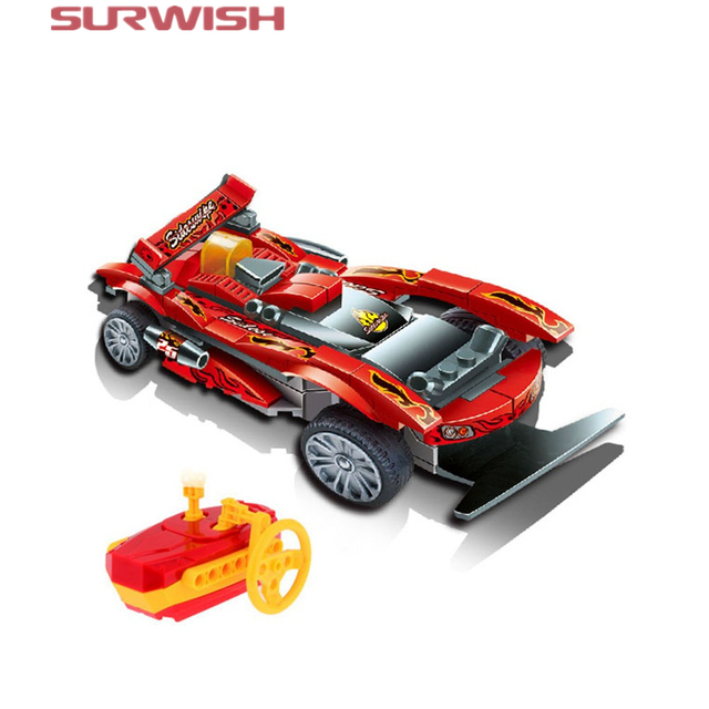 surwish diy 81pcs educational remote control building block fire dragon king car toys kit for kids