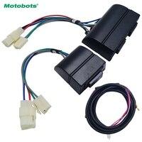 MOTOBOTS Universal Auto 3pcs Set Power Window Switch Holder Wire Harness With Yellow Green Light 12V