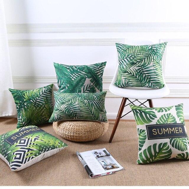Di alta Qualità di Estate Giungla Tropicale Foglie Verde Giardino Cuscino Stampa