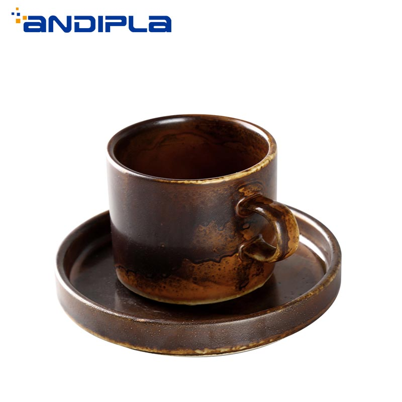 220ml Vintage Japanese Style Coarse Pottery Coffee Cup with Saucer Ceramic Mug Cafe Drinkware Coffee Cup Breakfast Milk Tea Mugs