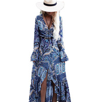 Bohemia Long Dress Women Floral Print Chiffon Beach Dress Summer V Neck Sexy Dress Ruffle Bohemian
