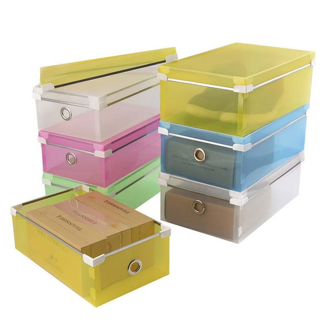 5PCS/SET FASHION Multi Function Clear Foldable Strong Plastic Shoes Box  Storage Box Organizer