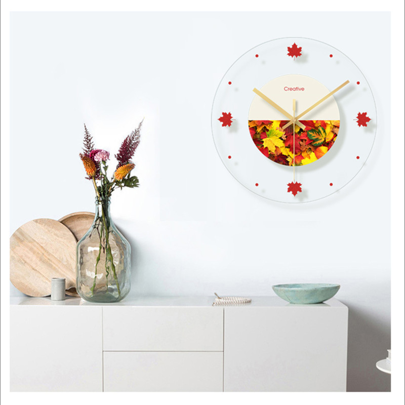 Green plant flower decoration wall hanging room clock (11)