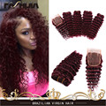 sexy brazilian kinky curly hair 4pcs brazilian deep wave red human hair 99j curly hair,wine red 4 bundles with 4x4 lace closure