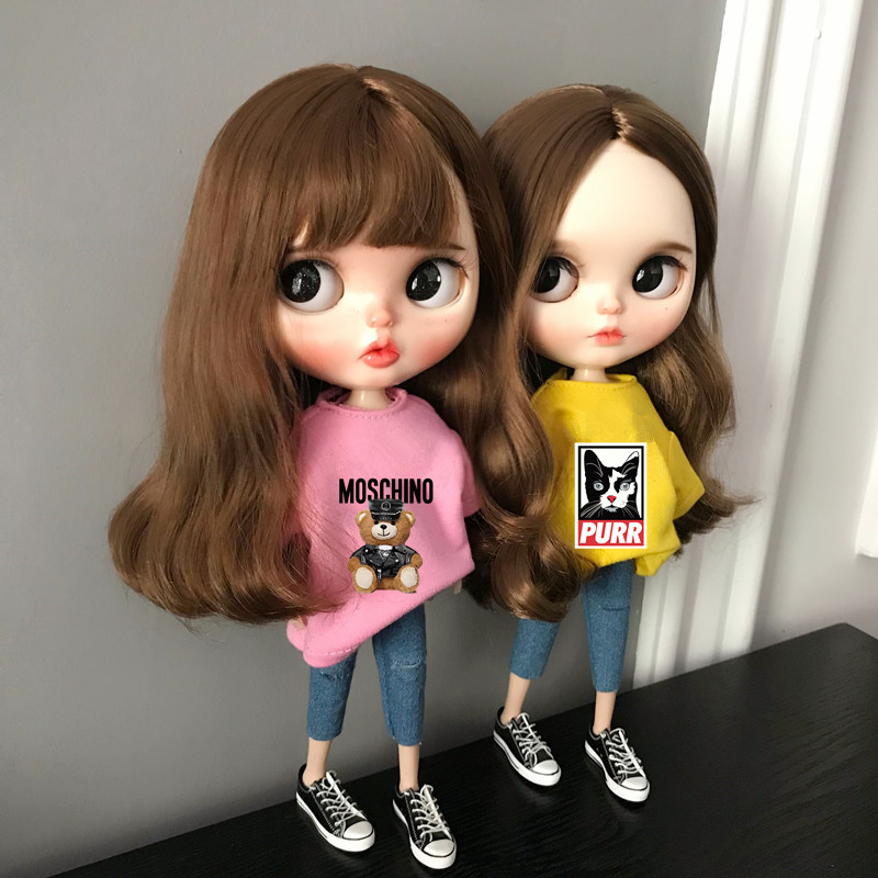 2pcs/lot Blyth Doll Clothing T-shirt + Jeans Fashion Pants Clothes For Barbie Doll, Azone,ob24,blyth,Kurkn 1/6 Doll Accessories