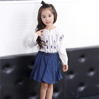 Girls Blouse Korean Character White Shirt Baby Girl Blouses For Girl Top Casual Long Sleeve Cotton Shirts Kids Clothes