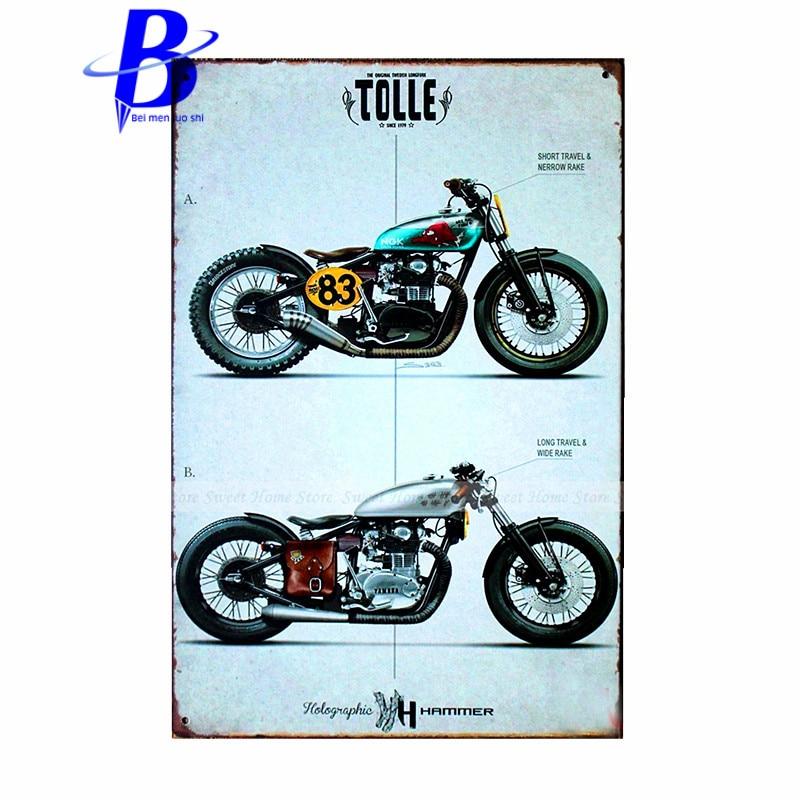 plaque metal vintage garage motorcycle bike retro rustic metal tin sign vintage tavern home. Black Bedroom Furniture Sets. Home Design Ideas