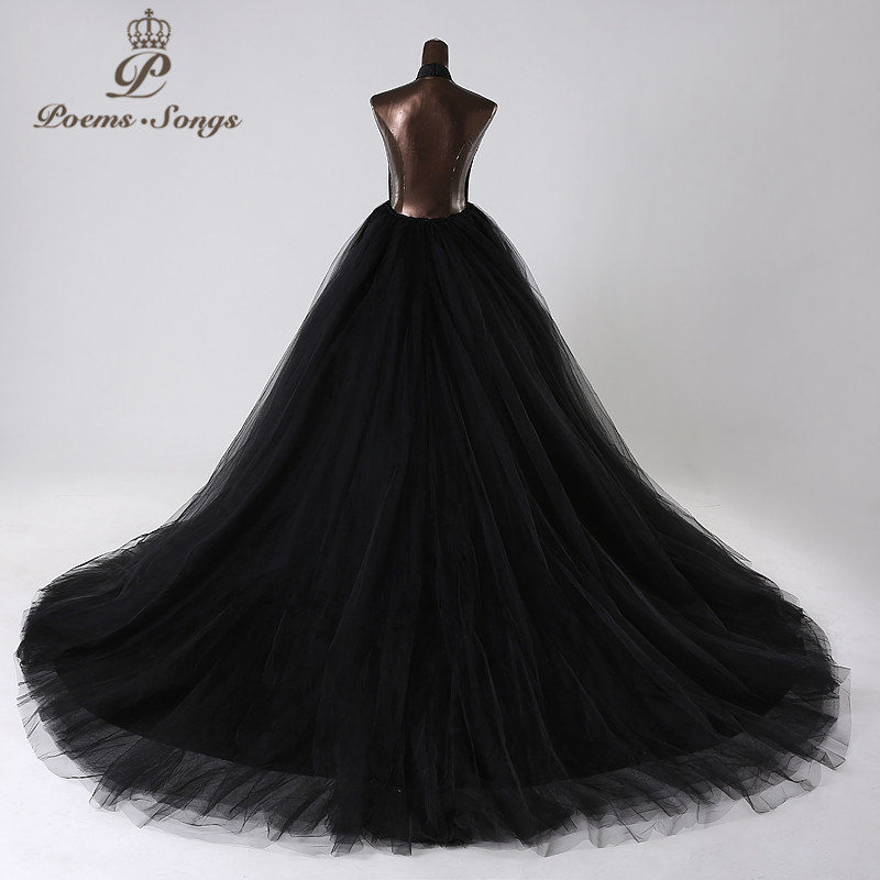 PoemsSongs 2019New style custom made Very sexy backless wedding dress white black red vestido de noiva brides dress ball gown - 6