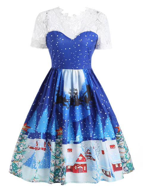 38d2d06325e95 Wipalo Women Autumn Lace Panel Christmas Print 50s Swing Dress Female  Vintage Cute Short Sleeve A