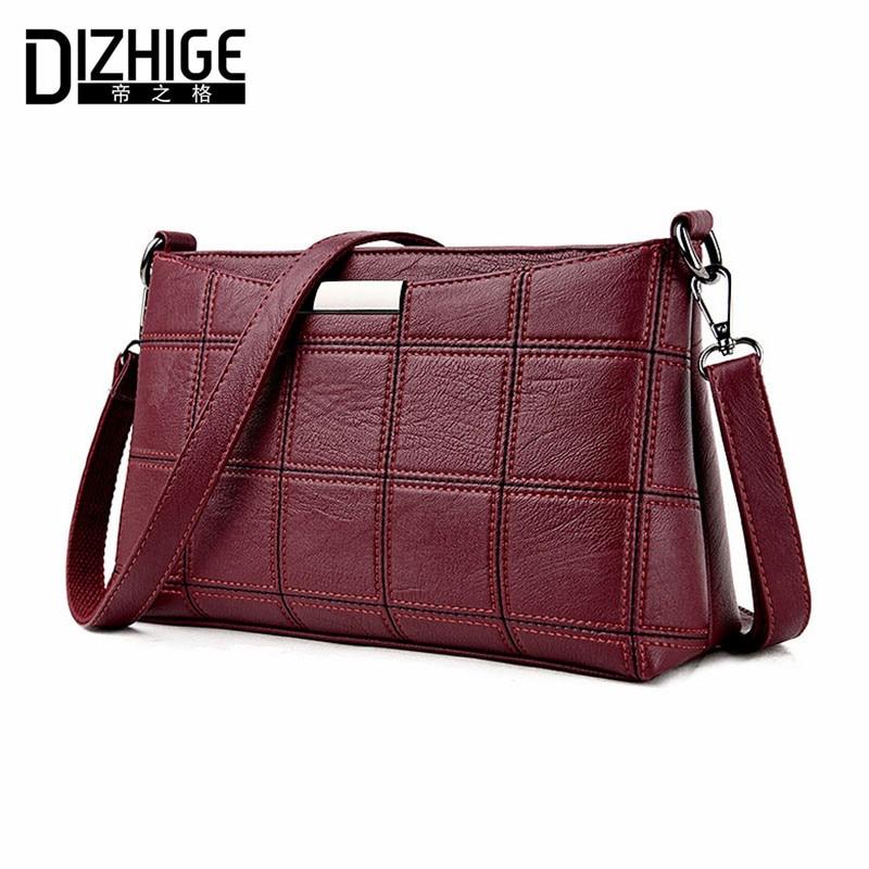DIZHIGE Brand 2017 Fashion Thread Crossbody Bags Plaid PU Leather Bags Women Han