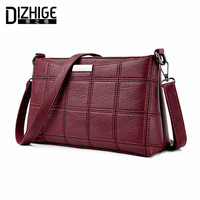 DIZHIGE Brand 2017 Fashion Thread Crossbody Bags Plaid PU Leather Bags Women Handbags Designer Shoulder Bags