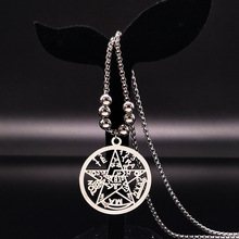 Fashion Pentagram Stainless Steel Long Necklace for Men Jewelry Silver Color Choker maxi colar Wholesale N17791