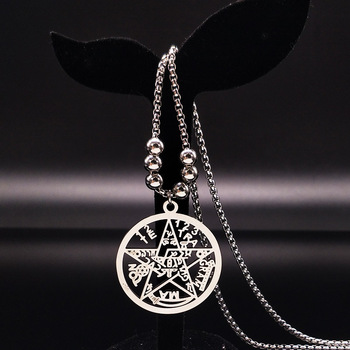 10pcs Pentagram Stainless Steel Long Necklace for Men Jewelry Silver Color Choker Necklace Jewelry wicca maxi colar N17791
