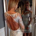 Sparkly Rhinestone Cocktail Dresses Long Sleeve Short Luxury Party Gowns Backless Mini Women Vestidos de pedreria 2016