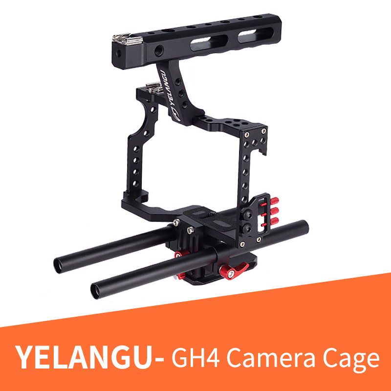 YELANGU Professional Aluminum DSLR Camera Video Cage Rig for Panasonic GH4 Sony Alpha A7 Series Fit fits A7 A7II A7S A7SII A7RII professional aluminum dslr camera movie making video cage with 15mm rod system for canon nikon sony pentax olympus panasonic
