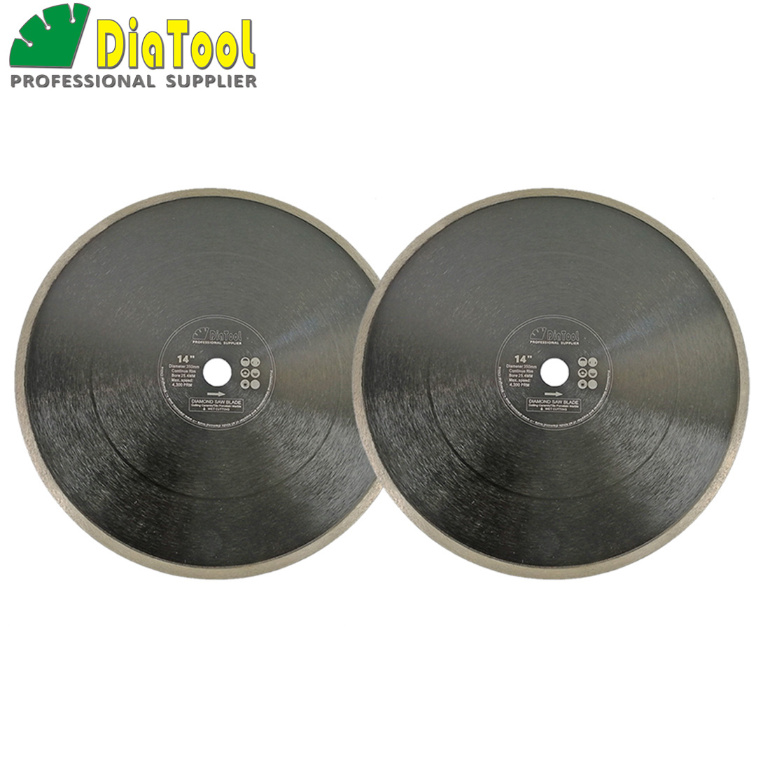 DIATOOL 2pcs Dia 14 inch Hot-pressed Continue Rim Diamond Blades Cutting Disc 350mm Porcelain Tile Ceramic Marble Saw Blade Disk кисть revell 0