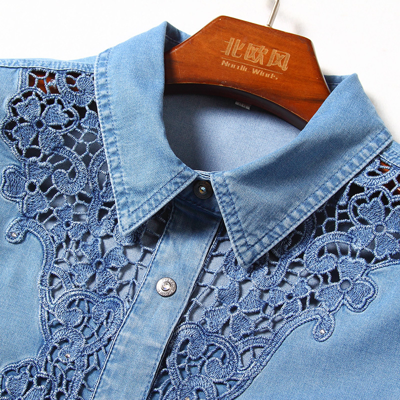 G495017 Women Blouse Lace Shirt Female Long sleeved Spring V neck Temperament Blouse Shirt Solid Causal Tops - 6