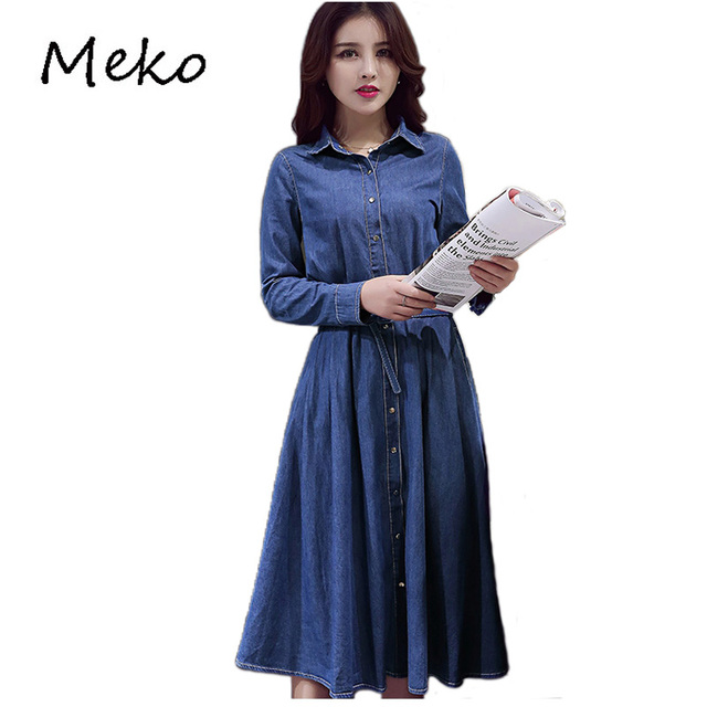Vintage Denim Dress Women Jean Dress Summer Casual Single Breasted Slim Long  Elegant Jean Party Dresses Vestidos De Festa D18 c90359a0c624