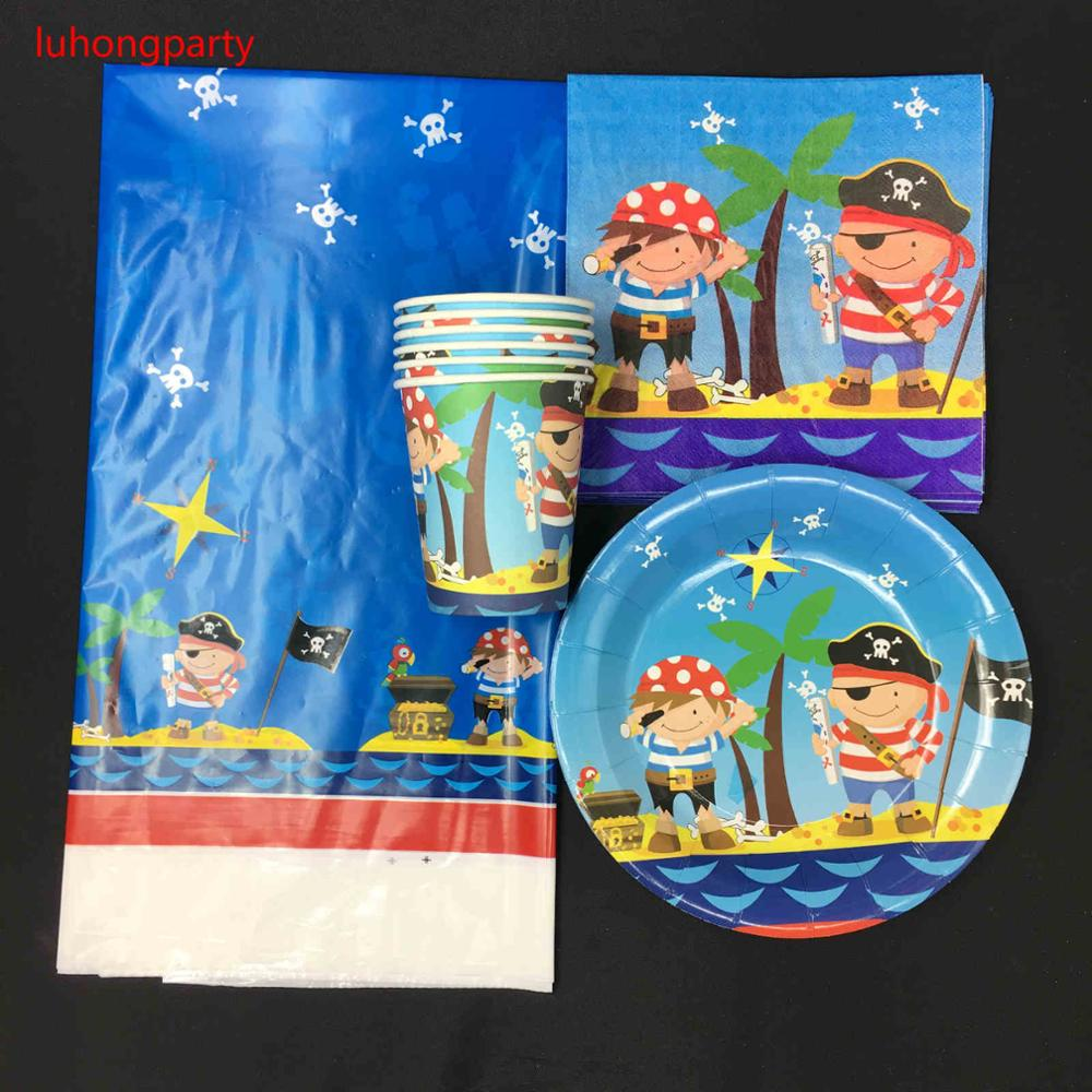 Pirate theme 10pcs plates +10pcs cups napkins+1tablecloth for kids birthday party decoration items