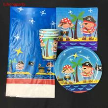 Pirate theme 10pcs plates +10pcs cups +10pcs napkins+1tablecloth for kids birthday party decoration party items 10pcs mn3005