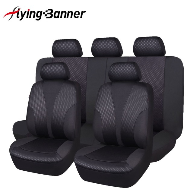 2019 new update 9 pcs black car seat cover universal easy install