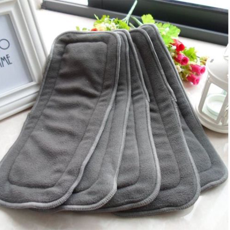5pcs/lot 4 Layers Insert Baby Charcoal Nappies Washable Reusable Bamboo Fiber Cloth Diaper Breathable Liners Kids Children Nappy