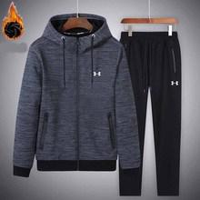 Under Armour traje deportivo cálido hombres invierno ropa de gimnasio 2  unidades chaqueta de terciopelo + Pantalones survetement. 0cfa389df88