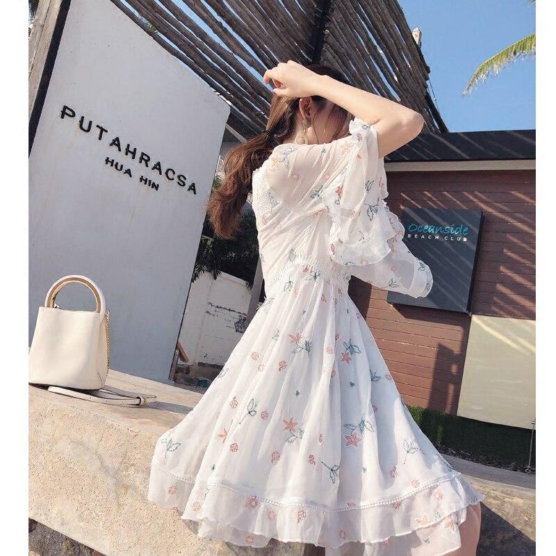 Donne Mishow Chiffon See Chart A Del Lolita V Mx18a1346 Ricamo Con Dress Mini 2019 Casual Delle Scollo Signore Vestito Floreale wxxtCU5