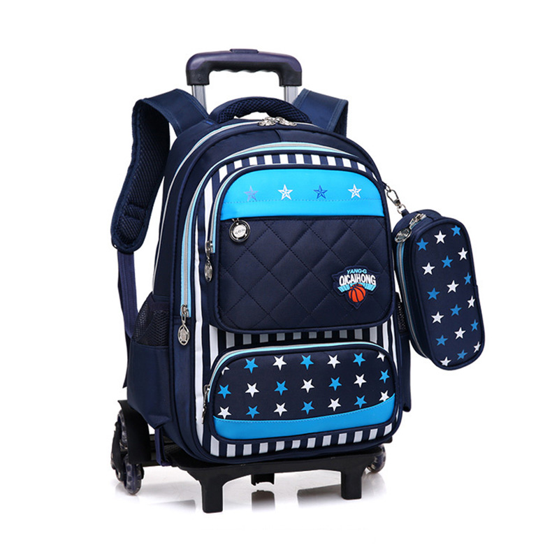Children Backpacks Trolley Case Boys Girls Primary School Bags with Wheels Lighten Burde ...
