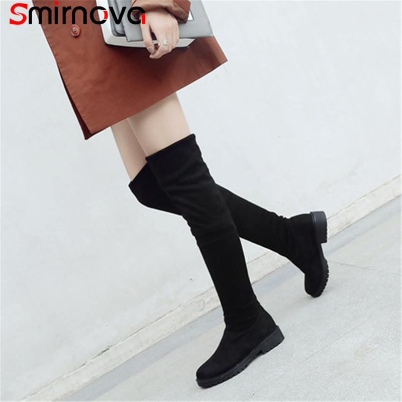 Smirnova NOUVELLE mode 2018 simple sur le genou bottes populaire noir troupeau dames bottes chaud hiver cuisse haute bottes femme