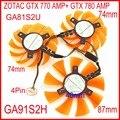 3 pçs/lote APISTEK GA91S2H GA81S2U 12 V 4wire 4 Pinos Para ZOTAC GTX 770 AMP + GTX 780 AMP Gráficos cartão Cooler Fan