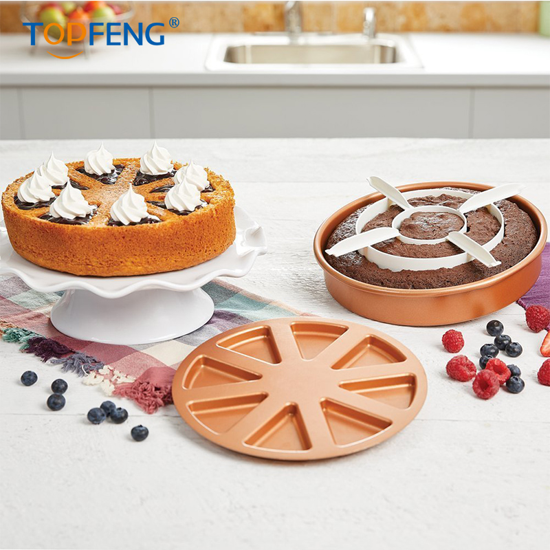 TopFeng Copper Chef Perfect Cake Pan 3 PC set BOGO- (2) 9 X  with 2 Magic Middle Pockets and